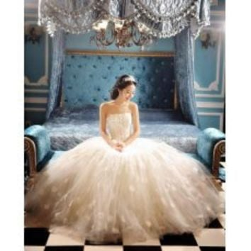[US$450.65] Princess Ball Gown Strapless Applique Lace Tulle Wedding Dress