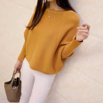 Korean women's low collar loose pullover top