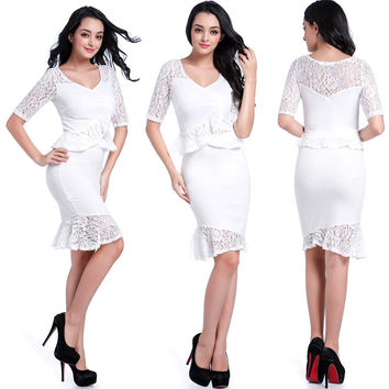 White Lace Paneled Top and Pencil Skirt Set