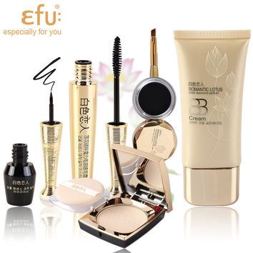 Hot! 1Set=5Pcs EFU Lotus Series 5Pcs Makeup Set Mascara and Eyeliner Liquid and Eyeliner Cream and BB Cream and Powder #EFU001
