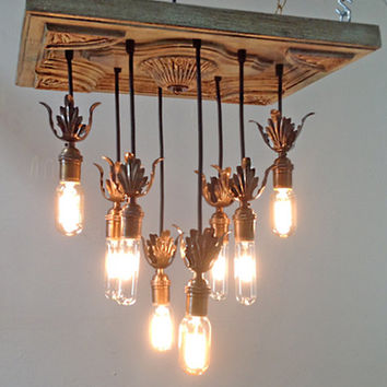 Shabby Chic / Cottage Style Chandelier with Edison Bulbs