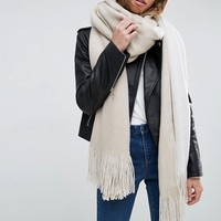 ASOS Long Tassel Scarf in Supersoft Knit In Color Block at asos.com