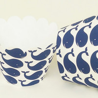 Cupcake Wrapper Blue and White Whale For Birthday Celebration, Nautical Baby Shower