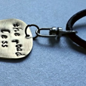 The Road Less Traveled - Keychain - Robert Frost Quote - Leather Key Chain