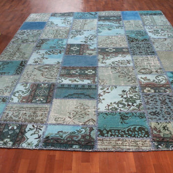 Overdyed Handmade Turkish Patchwork Carpet (Turquoise-Blue)  - Vintage Overdyed Turkish Rug- (245 X 330 cm)(8,03 ft X 10,8 ft)