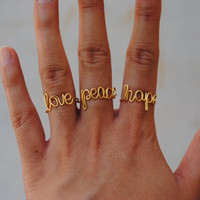 Peace, Love, Hope, Joy, Live 3-pack wire wrapped rings