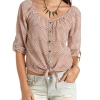 Printed Tie-Front Blouse: Charlotte Russe