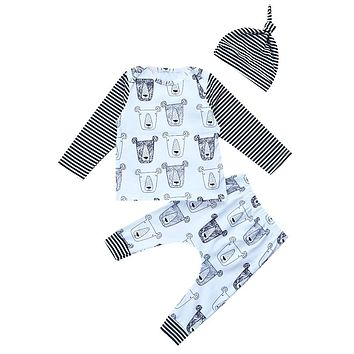 Newborn Baby Boy Girls Clothes Set Infant Newborn Baby Cotton T-shirt Tops Pants Leggings 3Pcs  New Arrival Fall Outfits Set