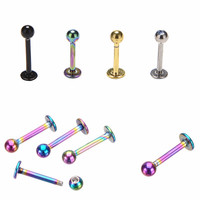 Labret Ring Surgical Tragus Earring Lip Ring Stainless Steel Gold Ball Spike Labret Bar Internally Body Piercing Jewelry  SM6