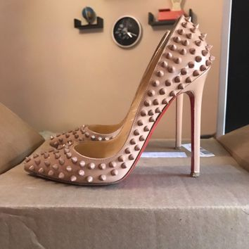 Christian Louboutin Pigalle Spikes 120mm Nude Patent Leather Size 38
