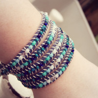 Bright Blue 5x Wrap Bracelet with Sparkly Swarvoski Crystal accents