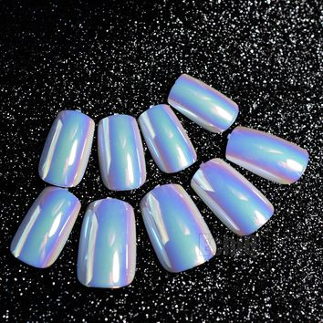 Symphony Long Press On Nails Light Blue White Square Fake Acrylic Nail Tips for Makeup Accessories with Glue Sticker Z484