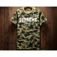 Supreme & Bape Joint Camouflage Full Print Short Sleeve Lightweight Breathable T-Shirt F-A-KSFZ green