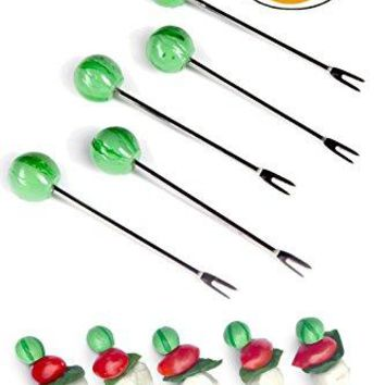 Appetizer Picks Set of 10 Reusable Stainless Steel Skewers For Fruit Cocktails or as Martini Picks by Simply Charmed