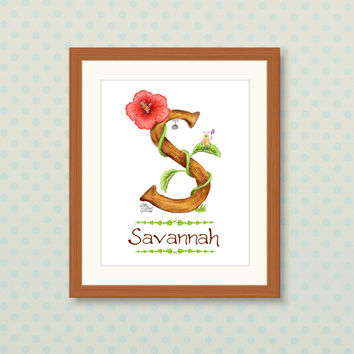Custom Monogram Letter S name print art - whimsical art, Kids Room Decor, girls wall art hanging, kids art, baby room decor, cute art prints