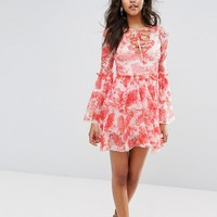 Boohoo Floral Print Tiered Mesh Dress at asos.com