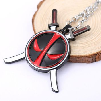 Deadpool Dead pool Taco H&F Movie Die Shi  Logo Metal Chain Red White Eye Logo Pendant Necklace Fashion Jewelry  Statement Punk Choker Coller AT_70_6