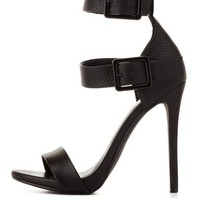 Black Textured Double Ankle Strap Heels by Charlotte Russe