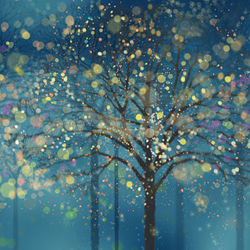 Fantasy Forest Wallpaper Wall Mural Art Bedroom Midnight Dark Blue Dream Night Woods Tree Wall Covering Fairy Tale Colorful Nature
