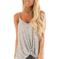Heather Grey Tank Top With Bottom Twist