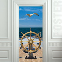 "Wall Door STICKER ship bow sea yacht gull rudder mural decole film poster 31x79""(80x200cm)"