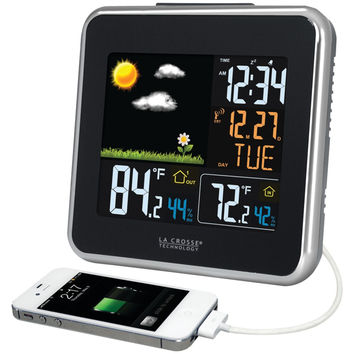 LA CROSSE TECHNOLOGY 308-146 Wireless Atomic Color Weather Station with USB Charging