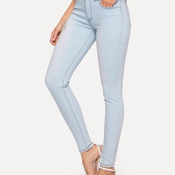 Stitch Detail Ripped Jeggings