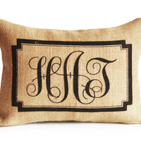 Monogrammed Gifts Pillow Covers Natural Burlap Custom Initial Throw Pillow Cushion Personalized Wedding Present Engagement Housewarming Gift