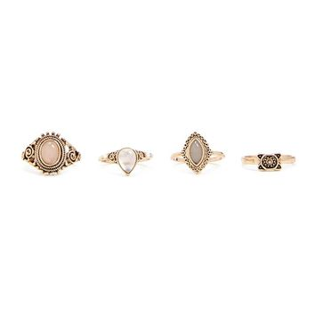 Antiqued Faux Gem Ring Set