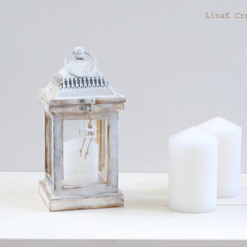Shabby Chic wooden lantern, candle holder, Simplicity Line, made to order, fall winter home decor