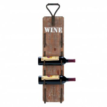 Iron Wine Bottle Wall Rack With Metal Handle