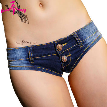 New Arrival 2016 Summer Sexy Pole Dance Mini Denim Shorts Low Waist Jeans Shorts Water Washed Blue Club Denim Cotton Shorts