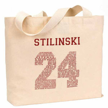 "Stilinski 24 Quote Maroon Cotton Canvas Jumbo Tote Bag 18""w x 11""h"