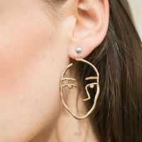 LMFUO9 Fun face earrings abstract silhouette design pierced earrings