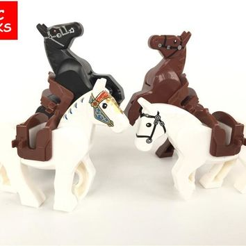 MOC bricks White & Black & Brown Knight Horse The Lord of the Rings the Hobbits Building Blocks figure Kids Toys Christmas Gifts