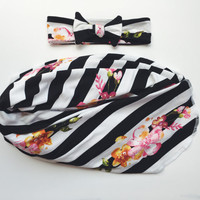 Lily Stripes Swaddle Blanket and Headband Set / Knit Swaddle / Blanket/ Newborn Headband