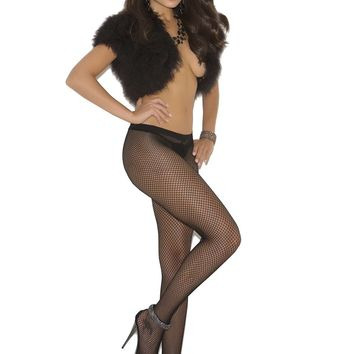 Fishnet pantyhose with rhinestone back seam Black