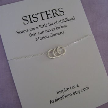 Sisters jewelry . 3 SISTERS necklace .Three sisters jewelry. Delicate sterling silver. Inspirational Gift.  Bridal Party