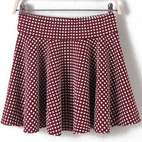 Wine Red Plaid Pleated Mini Skirt