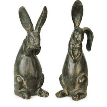 2 Rabbit Figures - Antique Gray And Cast Bronze Finish