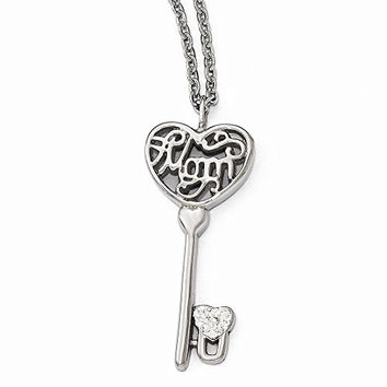Stainless Steel Polished Mom Lock n' Key Chain Slide Necklace
