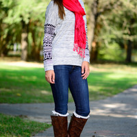 Tribal Sleeve Sweater, Grey