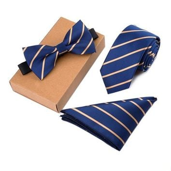 The President   3 Piece Tie + Bow Tie + Pocket Square Set