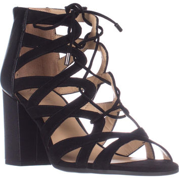 Franco Sarto Meena Heeled lace-up Sandals, Black, 8.5 US / 38.5 EU