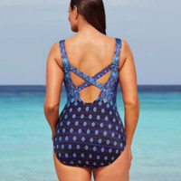 Plus Size Women Print Swimsuit