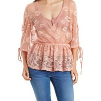 Dusty Pink Sheer Mixed Lace Peplum Wrap Top by Charlotte Russe