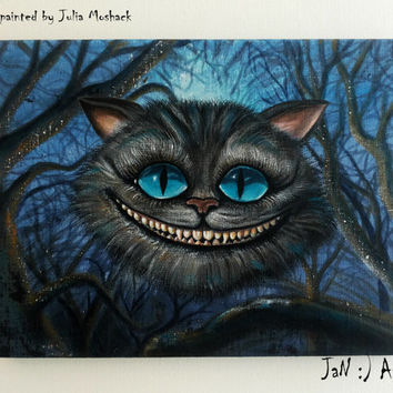 Cheshire cat original painting Alice in Wonderland wall art Hand painted gift Lewis Carrol Smiling cat Acrylic on canvas Kid Custom order