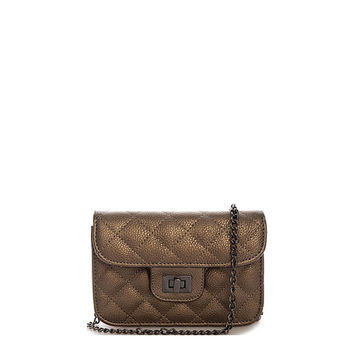 Alex Quilted Mini Clutch in Pewter