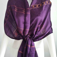 "Handwoven 100% Thai Silk Scarf  Vintage Design  20x70""  Dark purple Beach Winter Scarf Fashion Soft and smooth"