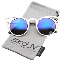zeroUV - Womens Fashion Round Metal Cut-Out Flash Mirror Lens Cat Eye Sunglasses (Gold / Ice)